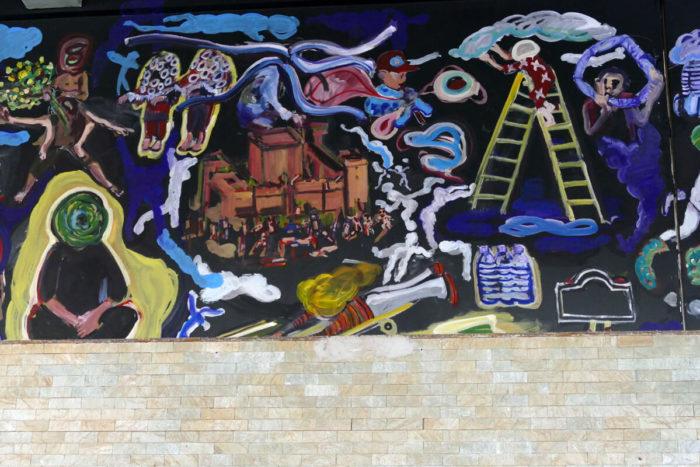 Yassine Balzioui, peinture murale réalisée pour la 13eme Biennale de Dakar