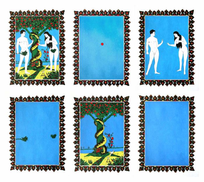 Soukaina Joual, Série de six dessins autour du mythe de Adam et Eve, arts contemporains au Maroc
