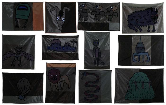 Edith Payer, série de dessins sur coton et polyester