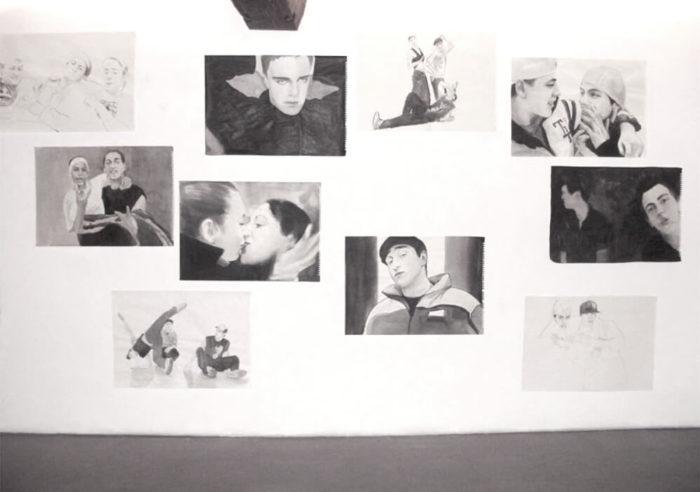 Nicole Schatt, série de portrait à l'encre de chine sur papier