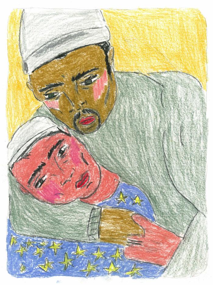 soufiane ababri, bed word, dessins au crayon de couleur sur papier
