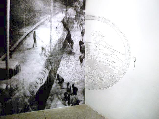 Katrin Ströbel installation dessin dans le cadre de son exposition au Cube Rabat Maroc