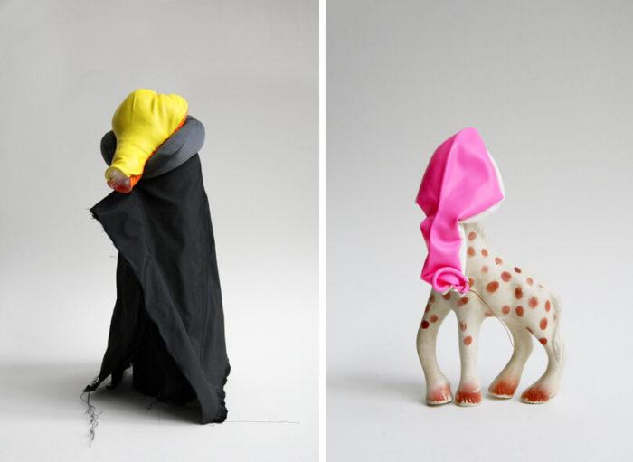 Edith Payer, photographie de ses sculptures 'giraffe' et 'dracula' présentées au Cube - independent art room à Rabat