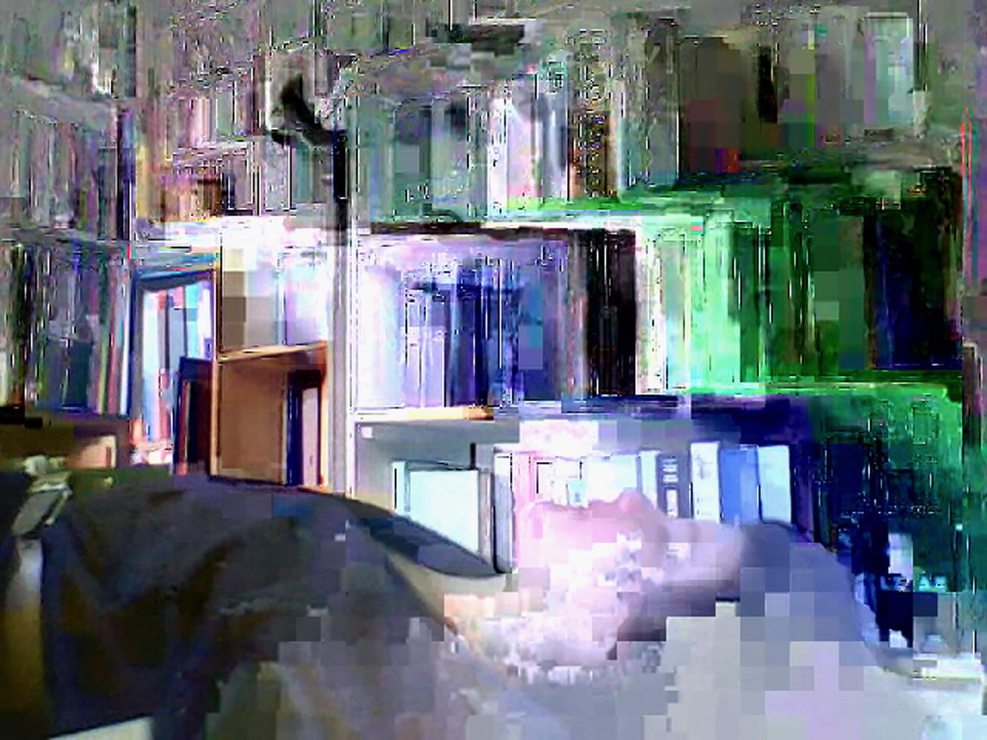 ismaël, Série Computers Visions, images très pixelisée en couleur prise avec une webcam