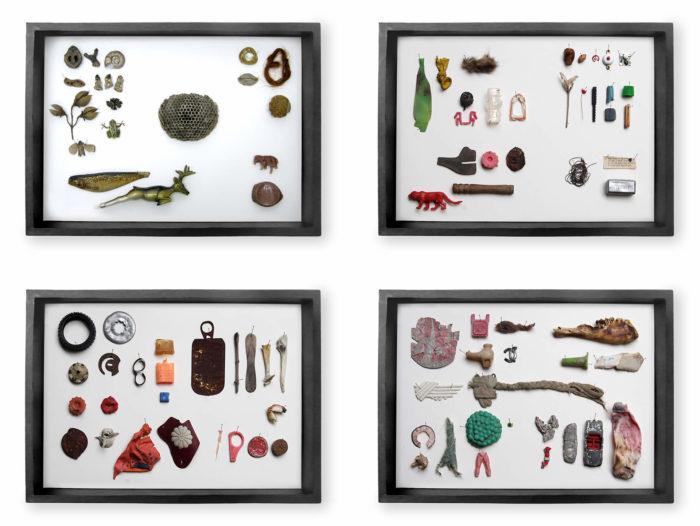 Edith Payer, Sloane's Agony box constitué d'objets trouvés dans la rue. Le Cube - independent art room, Rabat, Maroc