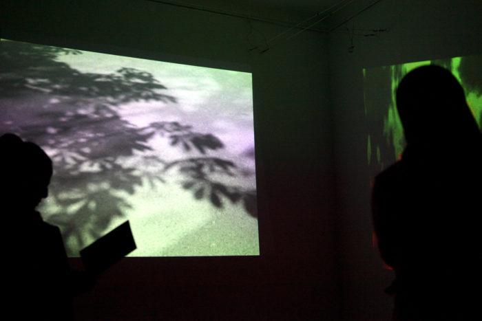 installation vidéo dans l'exposition de Jutta Strohmaier au Cube - independent art room, Rabat, Maroc