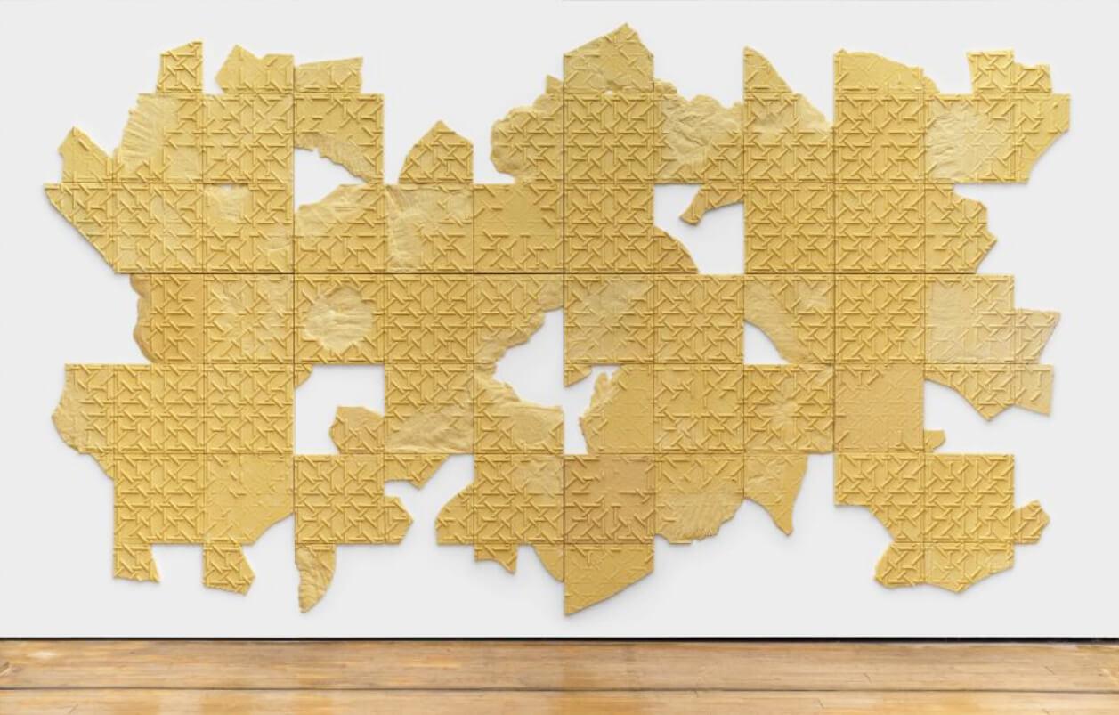 "Mehdi-Georges Lahlou ""Tawb, mausileum fragment"", 2016 semolina, various materials, 240 x 600 x 2 cm"