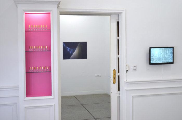 Attoussy, open studio au Cube - independent art room. Labour of love, Mohammed Laouli, projet avec de l'eau de rose contaminée par un texte de Sylvia Federicci pour lutter contre le capitalisme et le patriarcat et vidéo. Au fond, photographie de Leila Sadel