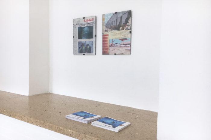 """vue de l'exposition personne de l'artiste égyptienne Marianne Fahmy, """"what thing may comes"""" au Cube - independent dans le cadre du programme d'art et de recherche """"travelling narratives"""" avec des structures artistiques du Maroc, Algérie, Libye, Mauritanie et Egypte"""