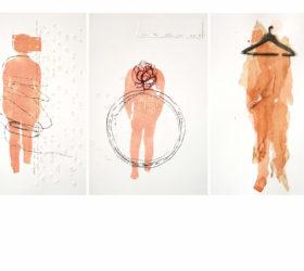 """Khadija El Abyad, """"Une douleur plastique"""", Technique mixte sur papier fort (verre, file de soie/fer, sparadrap, tissu fin, encre de gravure), 23x14,5 cm (x22), 2017"""