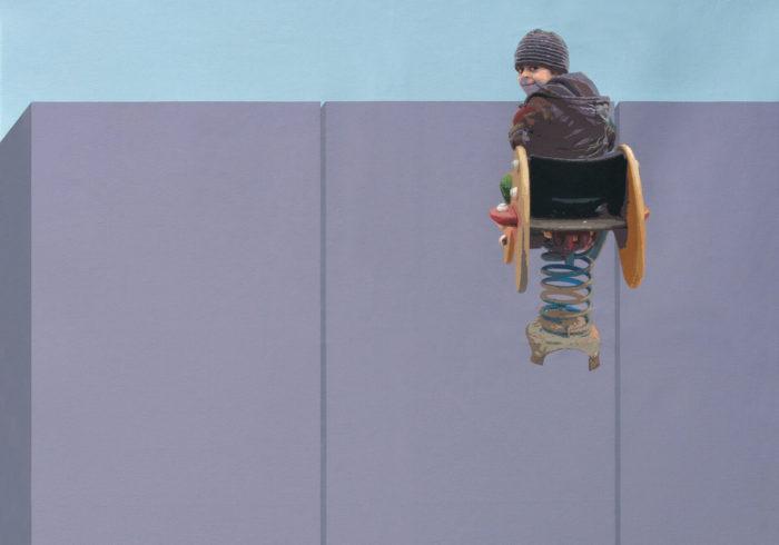 "Hani Zurob, toile issue de sa série ""Flying Lesson"", 200x160cm, 2013."