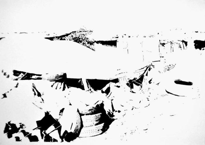 Mohammed Laouli, Sahb 1, encre sur papier, 2014