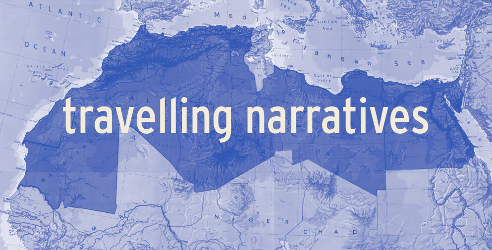 travelling narratives, programme d'art et de recherche initié par Le Cube - independent art room qui invite les artistes contemporain du Maroc, Algérie, Mauritanie, Libye et Egypte, de créeer des oeuvres qui créent des utopies collectives à partir des micro-histoires