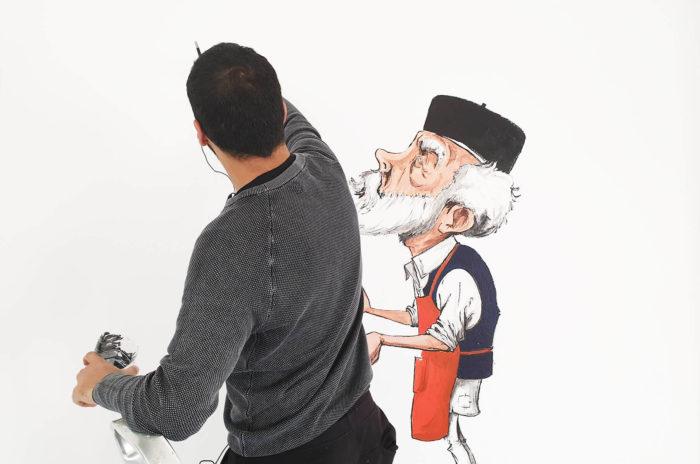 Souhaib Tantoush, cartooniste libyen en résidence au cube - independent art room à Rabat