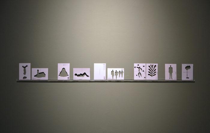 Farah Khelil, Musée du silence II, 2018. Cut-out postcards, Perspex, 10 x 15 cm each