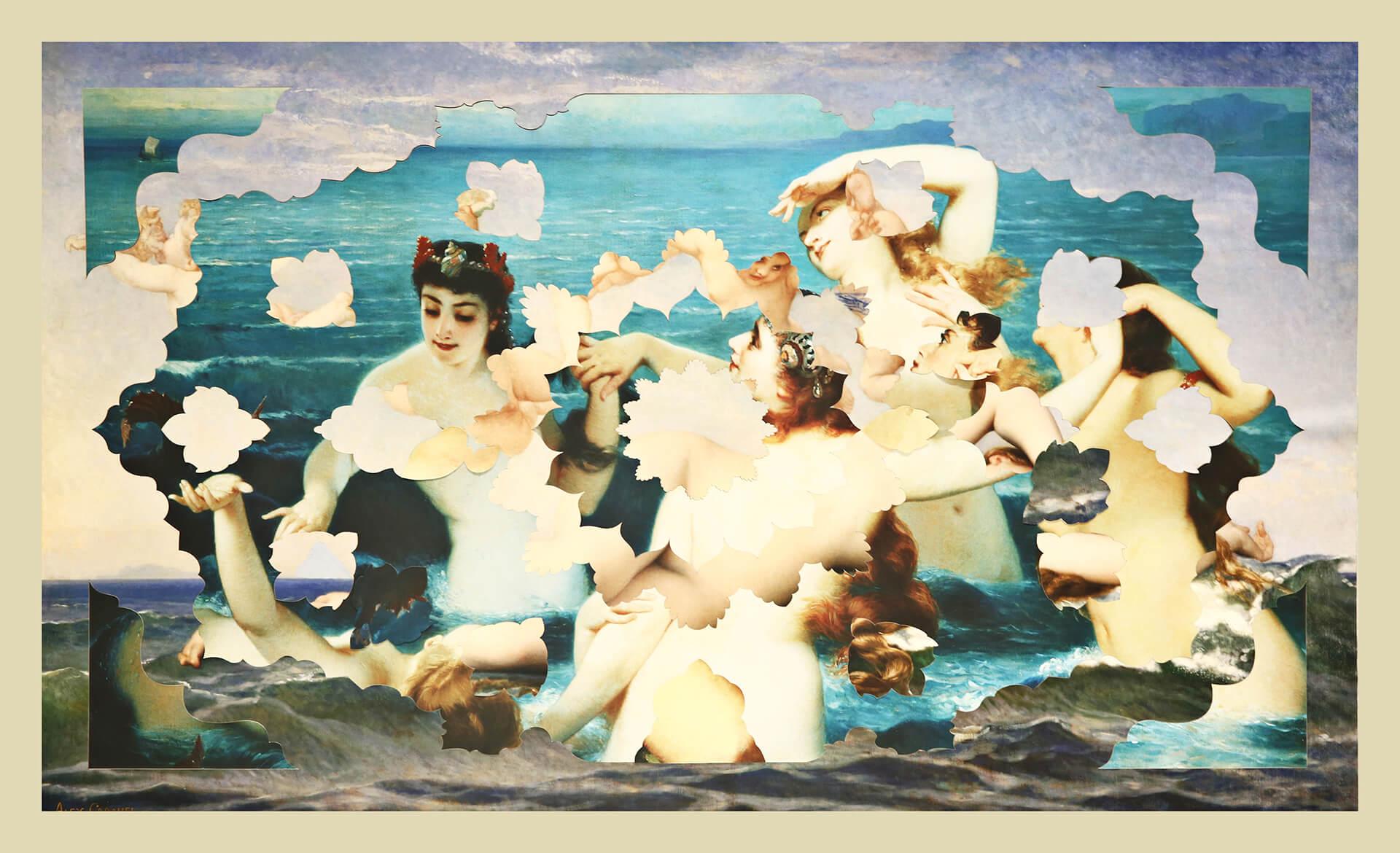 """Zoulikha Bouabdellah, """"Nues envers endroit – baigneuses""""CollagePosters découpés au laser,75 x 130 cm,2014.Courtesy de l'artiste"""
