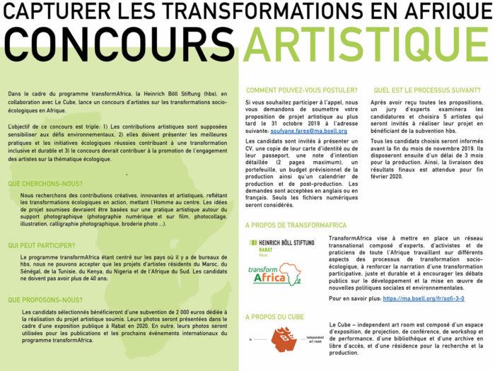 Dans le cadre du programme transformAfrica, la Heinrich Böll Stiftung (hbs), en collaboration avec Le Cube, lance un concours d'artistes sur les transformations socio-écologiques en Afrique.