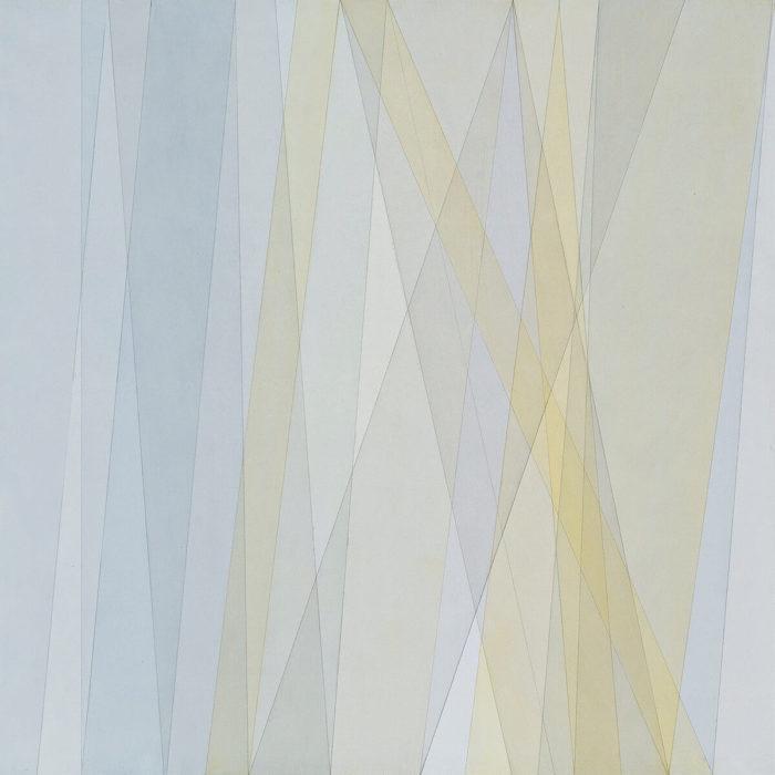 Fritz Ruprechter, Gelb Grau, aquarelle et vernis sur panneau dur, 2015