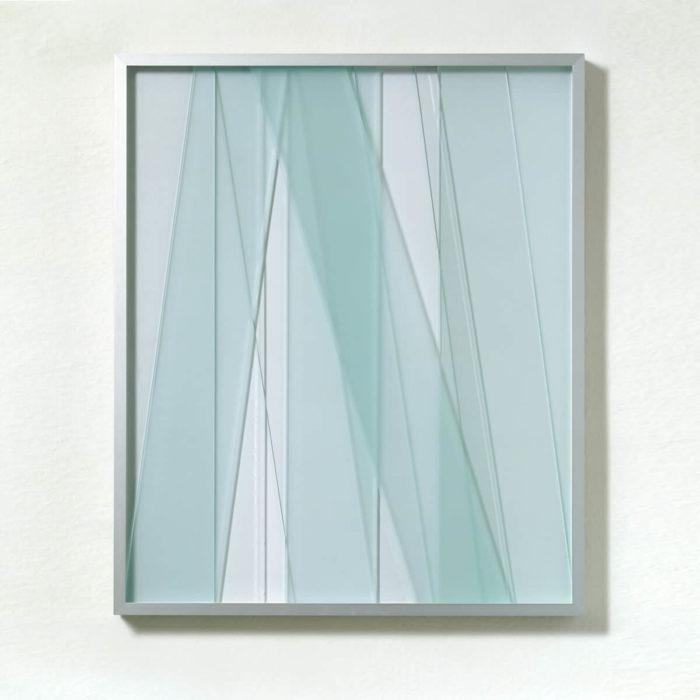 Fritz Ruprechter, Glas, sans titre, bandes de verre superposées dans cadres en aluminium, 2008